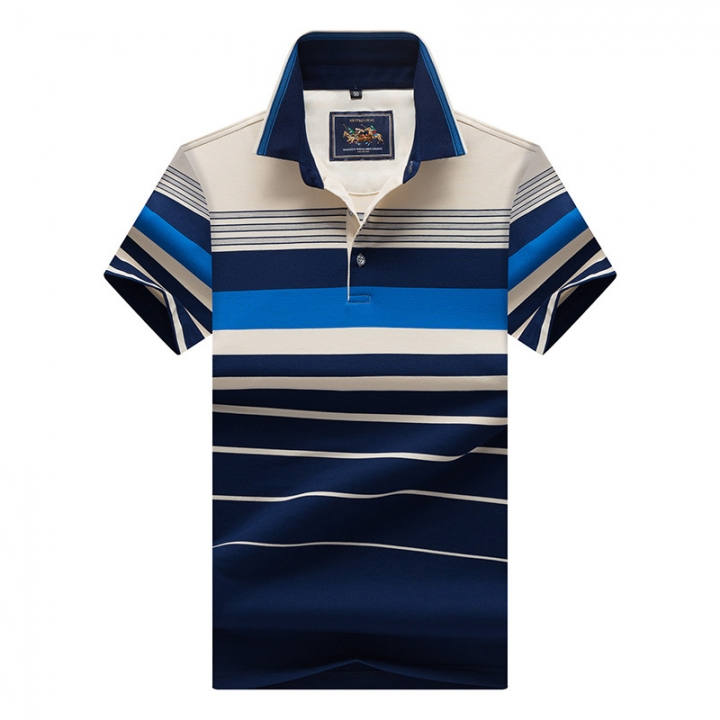 Men Polo Shirt New Cotton Summer Striped Polo Men Business Casual Men's Clothing Short-sleeved Polo blue xl