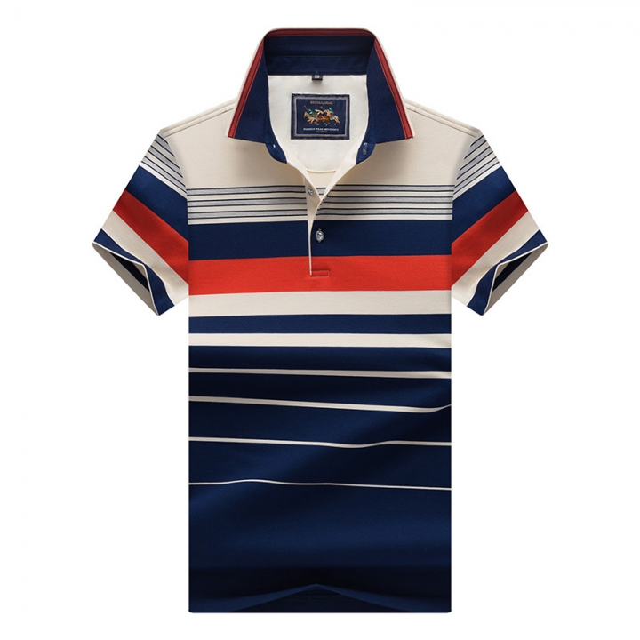 Men Polo Shirt New Cotton Summer Striped Polo Men Business Casual Men's Clothing Short-sleeved Polo orange xxl