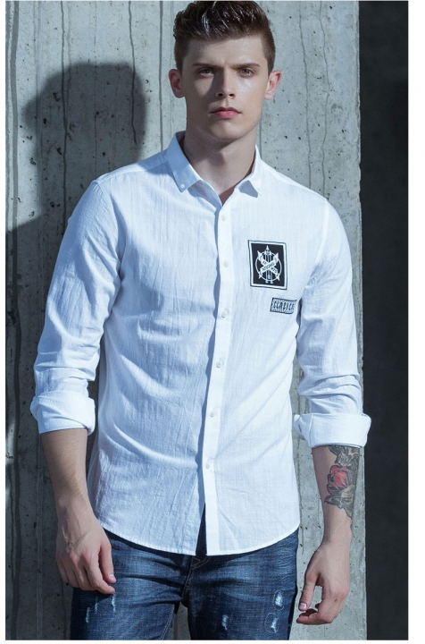New Men's Cotton Shirt Autumn Fashion Printing 100% Cotton Casual Shirt Men Plus Size white xl