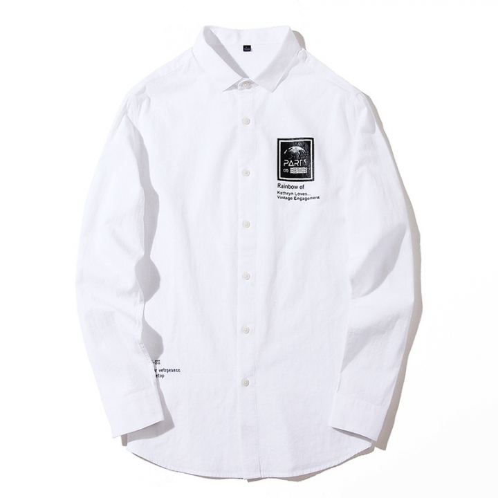 Plus Size men's Smart Casual 100% Cotton Solid Color Shirts Mens casual Loose Printed Style tops white xxxl