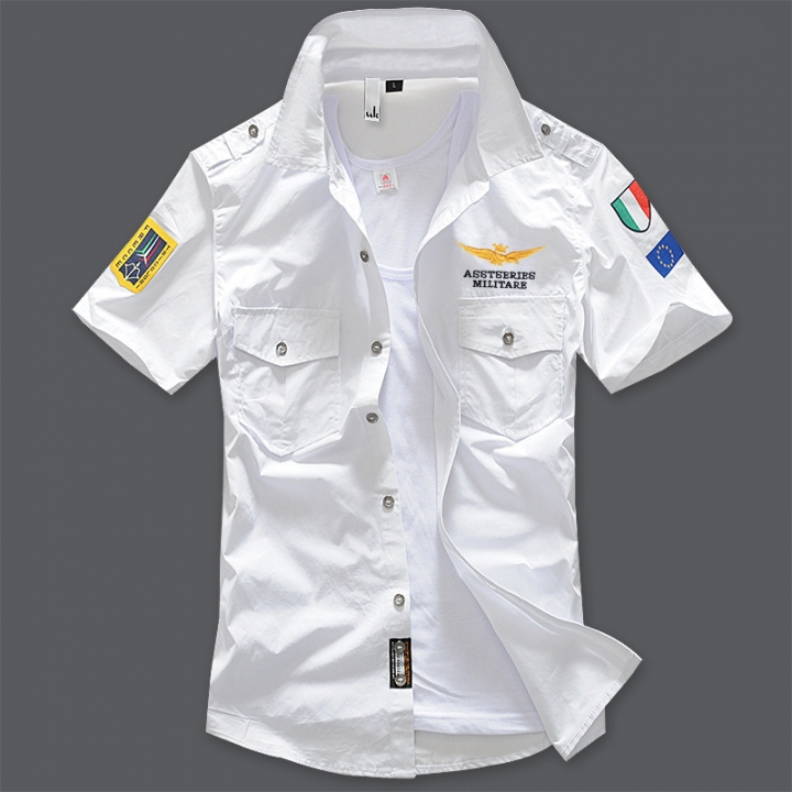 Air Force Short Sleeve Shirt Men Shirt Slim Fit 100% Cotton Casual Social Shirt white s