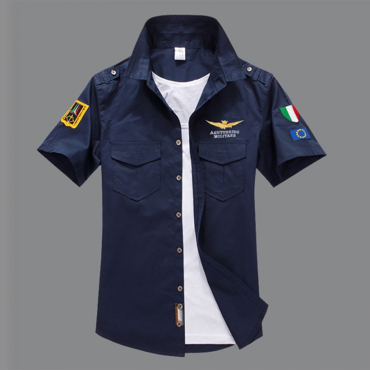 Air Force Short Sleeve Shirt Men Shirt Slim Fit 100% Cotton Casual Social Shirt navy blue 4xl