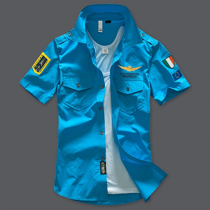 Air Force Short Sleeve Shirt Men Shirt Slim Fit 100% Cotton Casual Social Shirt light blue xl