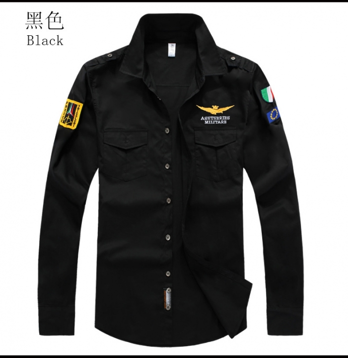 Plus Size Male Shirts Spring Cotton Casual Men Shirts Long Sleeve Vintage military style Mens Shirts black m