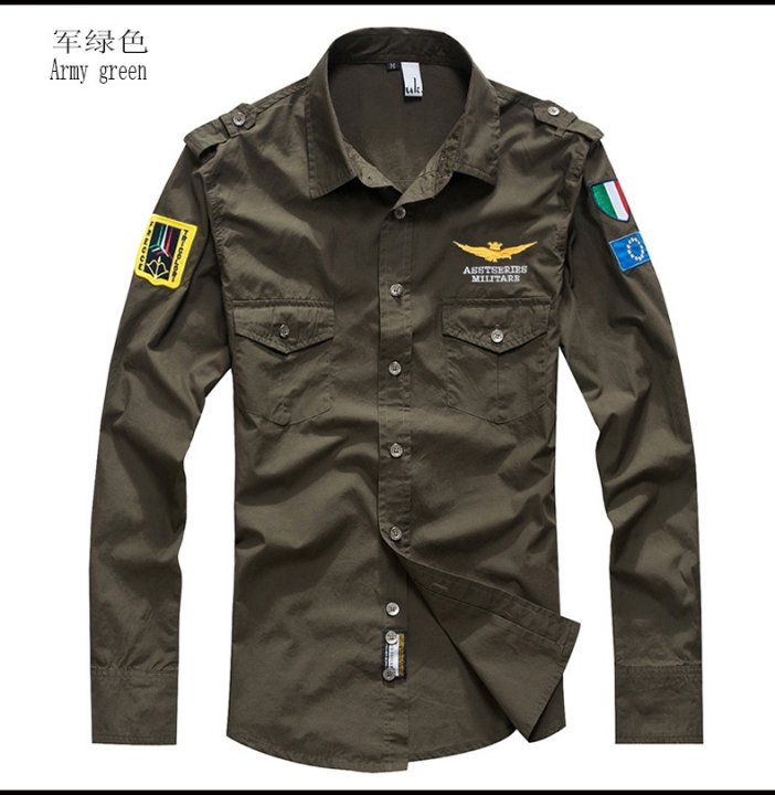 Plus Size Male Shirts Spring Cotton Casual Men Shirts Long Sleeve Vintage military style Mens Shirts green m