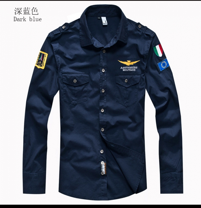 Plus Size Male Shirts Spring Cotton Casual Men Shirts Long Sleeve Vintage military style Mens Shirts navy blue m