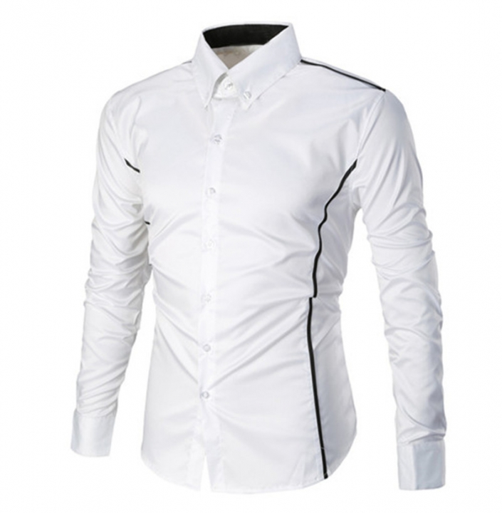 Fashion Casual Men Shirt Long Sleeve Turn-Down Collar Slim Fit Shirt Business Work Mens Dress Shirts white xl