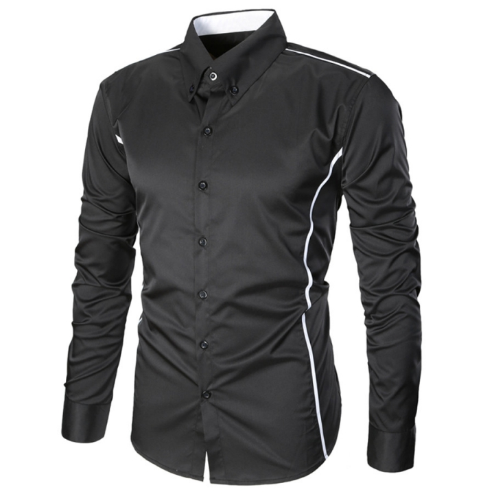 Fashion Casual Men Shirt Long Sleeve Turn-Down Collar Slim Fit Shirt Business Work Mens Dress Shirts black l