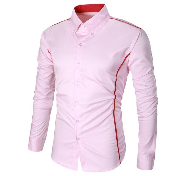 Fashion Casual Men Shirt Long Sleeve Turn-Down Collar Slim Fit Shirt Business Work Mens Dress Shirts pink xl