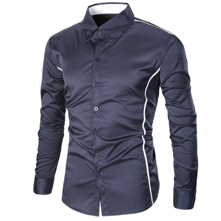 Fashion Casual Men Shirt Long Sleeve Turn-Down Collar Slim Fit Shirt Business Work Mens Dress Shirts blue xxxl