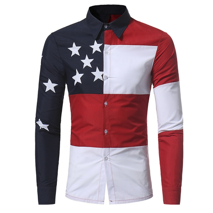 New Arrival Casual Stars Print Men's Shirts Long-sleeved Hit Color Turn-down Collar Slim Shirt Picture color m