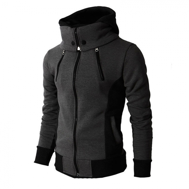 Men Fleece Fashion Warm Hoody Double-layer Mens Hoody Jacket Sweatshirt Mens Sweat Homme grey xl
