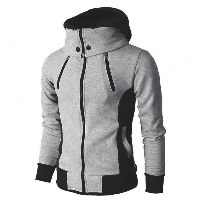Men Fleece Fashion Warm Hoody Double-layer Mens Hoody Jacket Sweatshirt Mens Sweat Homme light grey xxl