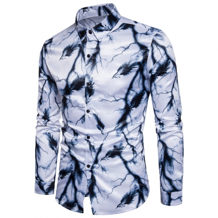ew men brand cotton autumn Long sleeve shirt Lightning feathers printing designfashion slim fit shir white m