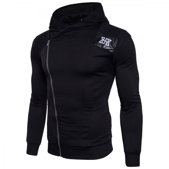 Men Sudaderas Hombre Hip Hop Mens Brand Leisure Zipper Jacket Hoodie Sweatshirt Slim Fit black m