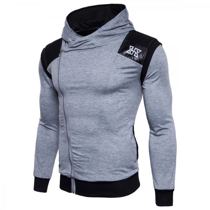 Men Sudaderas Hombre Hip Hop Mens Brand Leisure Zipper Jacket Hoodie Sweatshirt Slim Fit light grey m