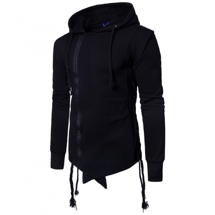 International European size rope Zipper stitching were pulled on the side of the rope Hoodie Coat black xl