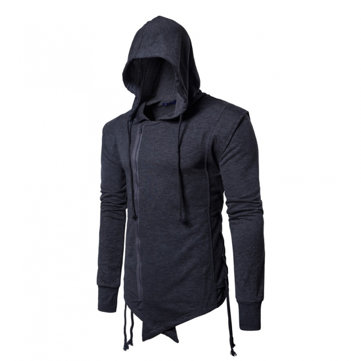 International European size rope Zipper stitching were pulled on the side of the rope Hoodie Coat dark grey m