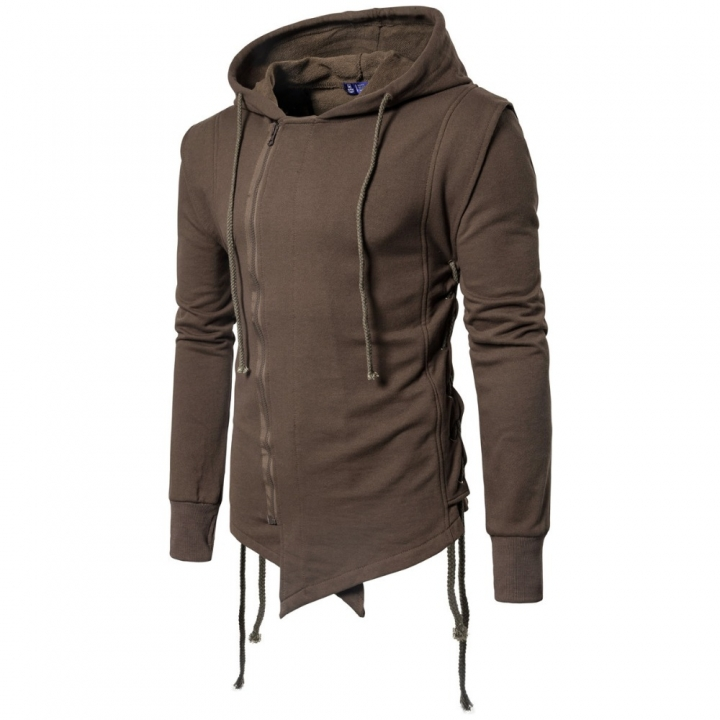 International European size rope Zipper stitching were pulled on the side of the rope Hoodie Coat coffee l
