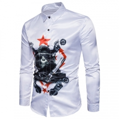 new men cotton autumn Long sleeve shirt chimpanzee 3D printing designfashion slim fit shirt white m