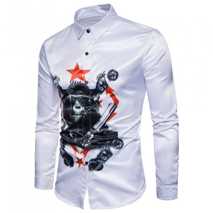 new men cotton autumn Long sleeve shirt chimpanzee 3D printing designfashion slim fit shirt white xl