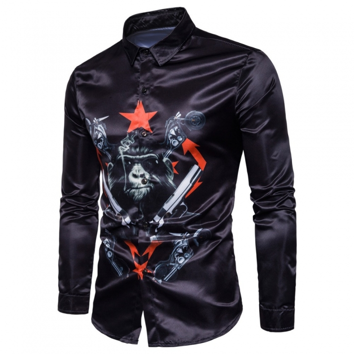 new men cotton autumn Long sleeve shirt chimpanzee 3D printing designfashion slim fit shirt black m