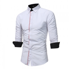 Fashion Male Shirt Long-Sleeves Tops Hit Color Buttons Mens Dress Shirts Slim Men Shirt Casual Shirt white m