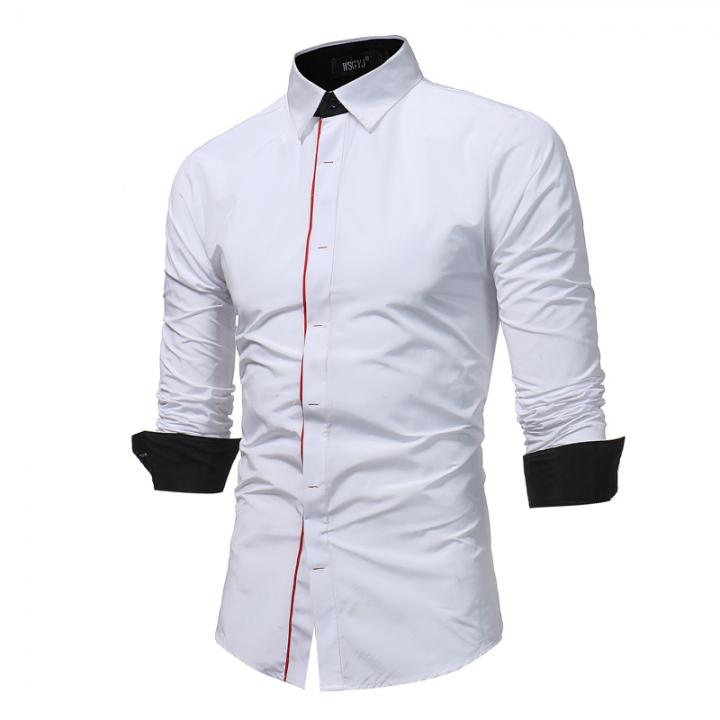 Fashion Male Shirt Long-Sleeves Tops Hit Color Buttons Mens Dress Shirts Slim Men Shirt Casual Shirt white xl
