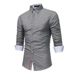 Fashion Male Shirt Long-Sleeves Tops Hit Color Buttons Mens Dress Shirts Slim Men Shirt Casual Shirt grey xxxl