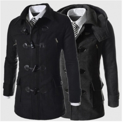 winter men fashion horn buttons hooded Blends casual warm handsome woolen coat black m