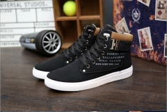 Fashion Winter Men's Autumn Leather High Top Canvas Casual Men's Shoes black 39