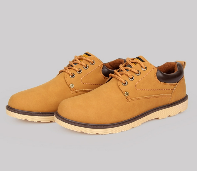 Fashion Fair Trade Sale Hot Mens Leather Casual Shoes Spring Autumn Shoes yellow 42