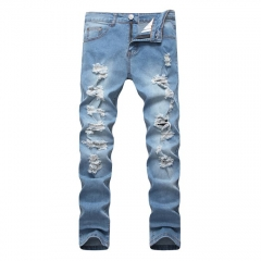 Glorystar Mens Jeans Hip Hop Ripped Jeans For Men Light Blue Color Jeans blue 28