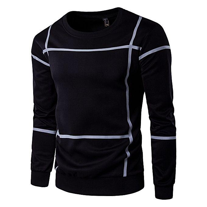 Fashion men shirts casual male pullover mens crewneck sweatshirt black m