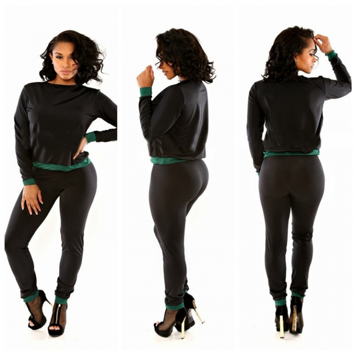 Sexy fashion Leggings nightclub wind Jumpsuit Romper suits trade bandage black+green s