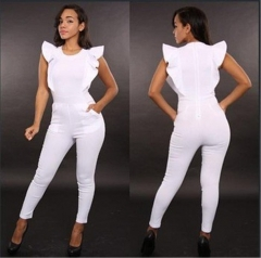 Woman sexy Sleeveless lotus leaf edge Jumpsuits Nightclub Taste Women's Jumpsuits white l