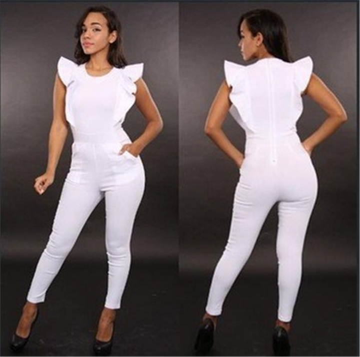 Woman sexy Sleeveless lotus leaf edge Jumpsuits Nightclub Taste Women's Jumpsuits white m