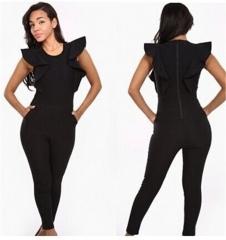 Woman sexy Sleeveless lotus leaf edge Jumpsuits Nightclub Taste Women's Jumpsuits black xl