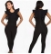Woman sexy Sleeveless lotus leaf edge Jumpsuits Nightclub Taste Women's Jumpsuits black m