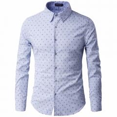 men long sleeved Shirts men's Bump color Small fine grid printing pattern dress shirts light blue xxxl