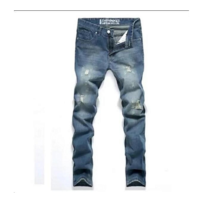 Men's Tapered Jeans Robin Jeans Pants Men Denim Pants Male Ripped Hole Jeans blue 28