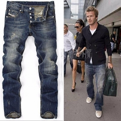 Men Cool Jeans Robin Fashion Pants Male Hole Loose Trousers Casual Biker Casual Classic blue 32