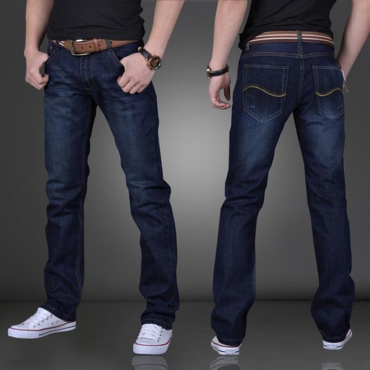 Mens Casual Plus-size Comfortable Cotton Denim Slim-fit Straight Long Simple Jeans Trouser blue 34