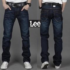 Grace Winter Autumn Mens Plus-size Cotton Denim Slim-fit Straight Long Jeans Trouser blue 29