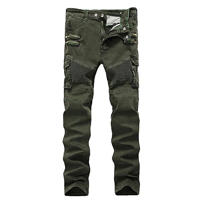 Men Jeans Robin Pants Denim Male Ripped Hole Loose Trousers Biker Classic green 28