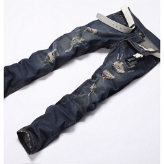 Men Jeans Cool Robin Pants Korean Style High Quality Male Hole Clear Loose Trousers Biker Classic blue 28