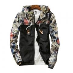 Floral Bomber Jacket Men Hip Hop Slim Fit Flowers Pilot Bomber Jacket Coat Men's Hooded Jackets black m