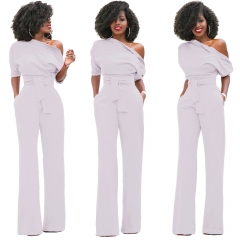 Fashion Women S One Shoulder Solid Jumpsuits Wide Leg Long Romper Pants With Belt white s