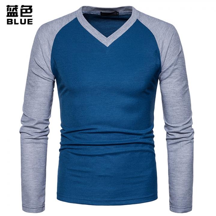 de478c02d57 ... Large Size T-shirt blue s cotton. Nice Men s Leisure T-shirt Long  Sleeved T-shirts V-neck Contrast Color