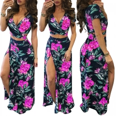 New Sexy Tight Short Sleeved V Collar Loose Dress Floral Dress 2 Pieces Women's Printed Dress s black